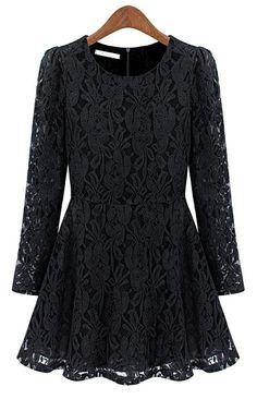Black Long Sleeve Floral Lace Pleated Dress - Sheinside.com