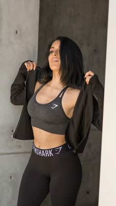 A Fit like no other. Jazmine Garcia flexing in the Seamless Cross-Back Sports Bra.