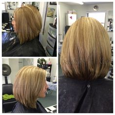 Long stack swing bob. Inverted bob. Full stack. Soft subtle blended highlights. Short or medium length hair is great with this cut. #aloxxi. #kreationsbykatie  done by Katie Biddix.