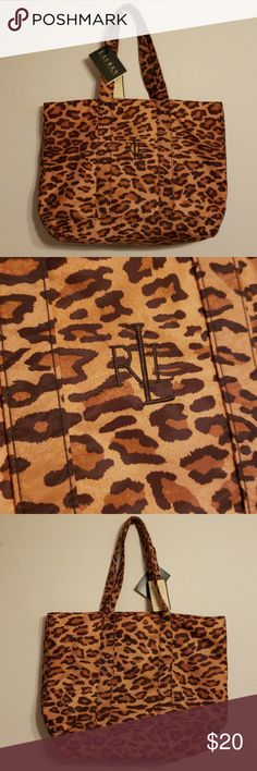 "Women's LRL Lauren Ralph Lauren Leopard Print Tote Women's Lauren Ralph Lauren RLR leopard print handbag / tote.  Measures approx. 16.5"" wide x 11"" high x 5"" deep.  Strap drop is 8"".  Features two handles and interior zipper pocket.  Cool bag!  Was purchased, then never used.  Comes from a smoke free home. Lauren Ralph Lauren Bags Totes"