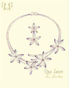 A Baguette and Pave Set Diamond Necklace Set