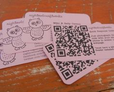 NightOwl Craftworks  These business cards are really cute and made us smile. The text alongside the QR code encourages you to take a picture and visit their website.