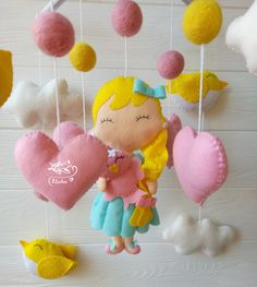 Excited to share this item from my shop: nursery decor felt princess mobile pink mobile baby mobile felt Baby crib mobile Princess fairytales mobile bird baby mobile baby shower Baby Mobile Felt, Baby Crib Mobile, Felt Baby, Yellow Nursery Decor, Baby First Outfit, Trendy Baby Girl Clothes, Pink Mobile, Crib Toys, Feltro