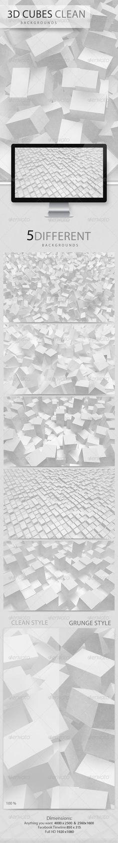 3D Cubes Clean Backgrounds - Envato #BestDesignResources
