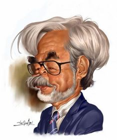 Hayao Miyazaki is a Japanese filmmaker. this caricature is done by Amir Taqi