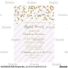 Gold Blush Pink Stripes Bridal Shower Invitations