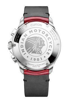 Baume & Mercier Clifton Club Burt Munro Tribute Limited Edition - its caseback features an engraved image of the motorcycle company's Indian Headdress logo as well as the watch's limited-edition number.  #watchtime #baumeetmercier #indianmotorcycle