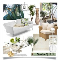 """""""Tropical Prints"""" by rever-de-paris ❤ liked on Polyvore featuring interior, interiors, interior design, home, home decor, interior decorating, Darya Rugs, Rocio, Pier 1 Imports and Pottery Barn"""