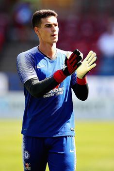 Kepa Arrizabalaga of Chelsea warmss up before the Premier League match between Huddersfield Town and Chelsea FC at John Smith's Stadium on August 2018 in Huddersfield, United Kingdom. Get premium, high resolution news photos at Getty Images Fc Chelsea, Chelsea Football, Germany Football Team, Huddersfield Town, John Smith, Premier League Matches, Goalkeeper, Good Looking Men, Sticks