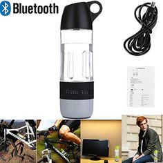 LarKoo 2 in 1 Water Bottle Wireless Bluetooth Speakers Outdoor Indoor Portable Waterproof Bike Riding Rechargeable Speaker with TF USB Cable Compass Water Cup Black *** Read more reviews of the product by visiting the link on the image.