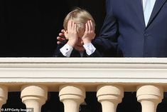 The four-year-old prince could be seen placing his head in his hand after the royal wave b... Old Prince, Charlene Of Monaco, Fitted Black Dress, Four Year Old, Prince Albert, Patron Saints, The St, Royalty, Husband
