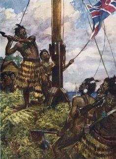 Hone Heke cuts down the flagstaff on Flagstaff Hill at Kororāreka.