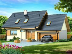 DOM.PL™ - Projekt domu DN Lisandra 2M CE - DOM PC1-60 - gotowy koszt budowy House Plans, Solar, Shed, Exterior, Outdoor Structures, Cabin, How To Plan, House Styles, Outdoor Decor