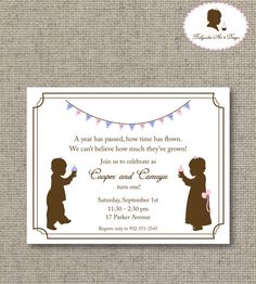 Printable DIY  1st Birthday Twin Invitation by babycakesart, $15.00