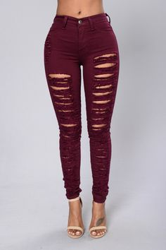 bfd786bb2ab Rip Me Open Jeans - Burgundy