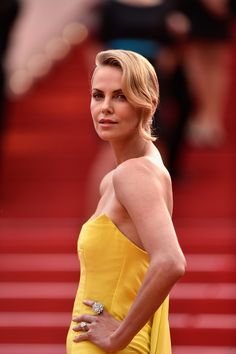 Charlize Theron in Christian Dior Couture with Chopard diamonds at the 'Mad Max: Fury Road' premiere at 68th Cannes Film Festival in 2015.
