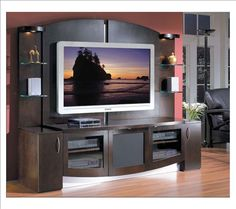 I chose this modern tv stand because I think it goes well with my room. I like this tv stand because it's big and lots of room to store things.