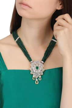 BEJEWELED presents Rhodium finish zircons and green stones necklace available only at Pernia's Pop Up Shop. Gold Jewellery Design, Bead Jewellery, Beaded Jewelry, Gold Jewelry, Jewelery, Saree Jewellery, Antique Jewellery, Diamond Necklace Set, Diamond Pendant