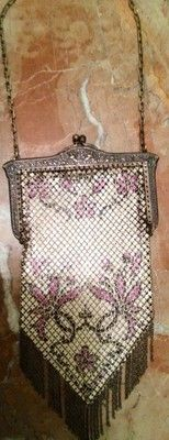 Vintage Silver Mesh Hand Painted Flapper Style Bag
