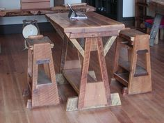 Drafting table inspired Western Larch & Douglas Fir dinette set constructed using floor joists reclaimed from an old apple packing plant in Waistburg, WA. Crafted by L. Design Reclaimed.
