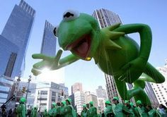 Kermit the Frog balloon makes its way down Broadway in New York