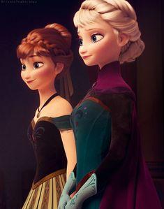 Film still of Princess Anna and Queen Elsa