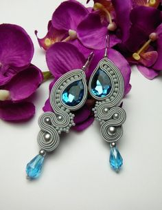 A beautiful, animal earrings set, hand-crafted and self-designed, created using a time-consuming soutache technique. **Cute earrings in an elegant shade of a turquoise and a silver grey color**. Soutache Necklace, Beaded Earrings, Etsy Earrings, Earrings Handmade, Beaded Jewelry, Unique Jewelry, Fabric Earrings, Animal Earrings, Cute Earrings