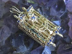 14k Gold & Sapphire Torah, Menorah, Star of David Pendant Judaica Jewelry