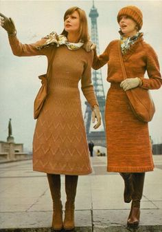 Knits 1974 vintage fashion color photo print ad models magazine designer sweater dress gold tan mustard st john like 70s