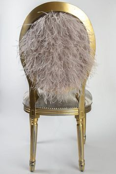 Grey silk velvet and ostrich feather upholstered side chair painted and distressed in gold on a French Louis XVI side accent dining chair