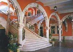 Imperial staircase inside the Palacio de Gobierno, Aguascalientes, Mexico