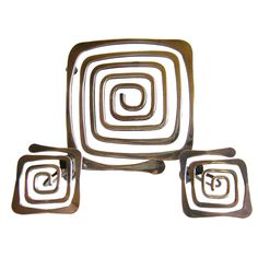 ED WIENER Spiraling Brooch and Earrings Set - Lisa Cliff Collection Wooden Jewelry, Metal Jewelry, Jewelry Box, Jewelery, Silver Jewelry, Screw Back Earrings, Clip On Earrings, Dangle Earrings, Vintage Clip