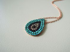 Evil eye necklace Turquoise jewelry women gift valentines day girlfriend gift #Handmade