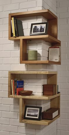 wrap around shelf - hand crafted - The award nominated Franklin Shelf is a 90 degree corner shelf. This unique design allows for maximum storage space, while occupying a very small area. The smooth wooden finish of this shelf will make a great addition to any corner, table, or desktop. Its sturdy build allows it to be hung or stand on its own. Cherry, Maple or Walnut Dimensions: 23.75″H X 20″W X 20″D Shelves are 5″D and 10″H