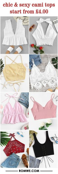 Chic & sexy cami tops from £ romwe chic style in 2019 ж Teen Fashion Outfits, Mode Outfits, Girl Outfits, Crop Top Outfits, Cute Casual Outfits, Diy Clothing, Sewing Clothes, Fashion Sewing, Diy Fashion