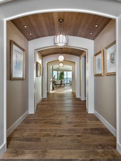Hallway, Contemporary Brown Hallway Colour Schemes Also Wooden Ceiling And Floorboards Also Unique Modern Pendant Lights Also Small Ceiling Lights Also Pictures With Gold Color Frame: Hallway designs to Make Your House Better