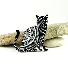Black and White Cat brooch - hand painted wooden brooch - white lace design. $20.00, via Etsy.