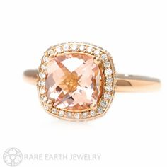 14K Diamond Halo Morganite Engagement Ring Cushion by RareEarth