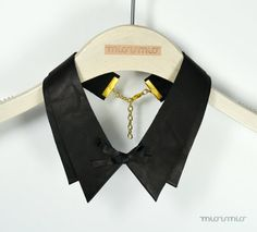 Geometric black collar necklace/ Eco friendly scrap leather