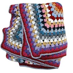 Wool Crochet Blanket. I adore this one. Beautiful colours, reminds me of my childhood blanket.