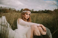 A custom Bridal headband from the by KYNA Collection. Jennifer wears a lace headband creating a simple boho look. Full range of Bridal headwear, veils and accessories available online. Shot in a bog in Ireland Lace Headbands, Boho Look, Wedding Hair Accessories, Veils, Headpiece, Vintage Inspired, Wedding Hairstyles, Ireland, Ready To Wear