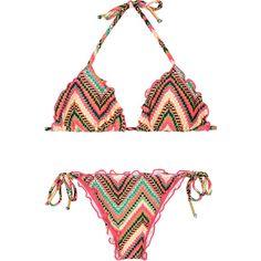 Salinas Pink Ripple Bikini, Geometric Zigzag Pattern - Marrakesh... ($150) ❤ liked on Polyvore featuring swimwear, bikinis, hot pink, multi color bikini, pink bikini, ruched bikini, triangle bikini and triangle bikini swimwear