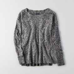 AE Hi-Low Crew Sweater (€36) ❤ liked on Polyvore featuring tops, sweaters, grey, ribbed top, gray crew neck sweater, zip sweater, american eagle outfitters sweaters and grey top