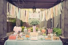 Baby shower theme hbo13 - love the ripped-fabric banner! great natural feeling and no landfill required for beauty! xoPiper