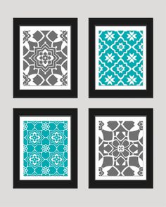Grey Turquoise Wall Art Print Set, Vintage / Modern, Home Decor, Set of 4 - 8x10 Prints, Bedroom Art, Living Room Art, Office, Nursery