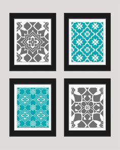 Grey Turquoise Wall Art Print Set, Vintage / Modern, Home Decor, Set of 4 - 8x10 Prints, Bedroom Art, Living Room Art, Office, Nursery