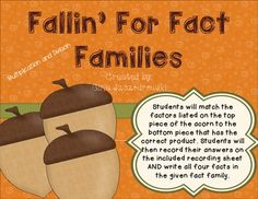 Fallin' For Fact Families (multiplication and division) {FREEBIE}