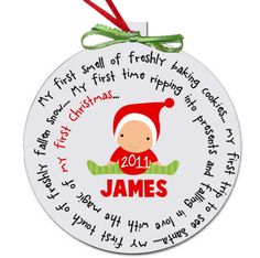 Cutest baby's first christmas ornament I've ever seen!! personalized for a girl or a boy - great custom new baby christmas gift. $15.00, via Etsy.