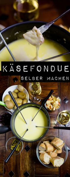 Make cheese fondue yourself - so easy and so delicious!- Käsefondue selber machen – so einfach und so lecker! Make cheese fondue yourself – so easy and so delicious! Healthy Snacks Before Bed, Healthy Snacks For Adults, Diabetic Snacks, Healthy Eating Tips, Easy Snacks, Snacks Ideas, Vegan Snacks, Fondue Recipes, Meat Recipes