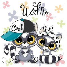 Two Cartoon Raccoons boy and girl with cap and bow. Two Cute Cartoon Raccoons boy and girl with cap and bow stock illustration Kitten Cartoon, Cartoon Elephant, Owl Cartoon, Cute Cartoon Girl, Cute Cartoon Animals, Cute Animal Clipart, Cute Clipart, Cute Animal Drawings, Cute Drawings